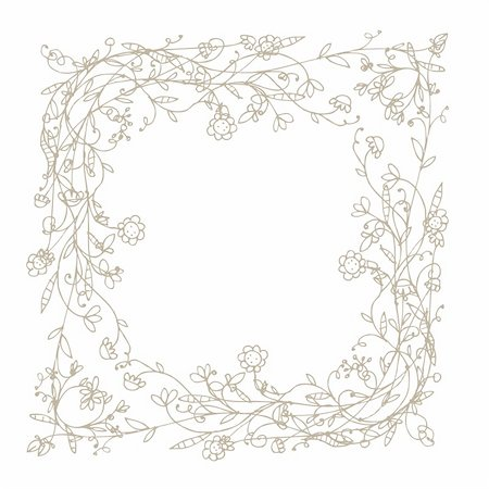 Sketch of floral frame for your design Stock Photo - Budget Royalty-Free & Subscription, Code: 400-04837183