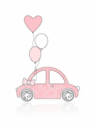 Pink female car with floral ornament and balloons for your design Stock Photo - Budget Royalty-Free & Subscription, Code: 400-04837197