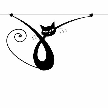 Graceful black cat silhouette for your design Stock Photo - Budget Royalty-Free & Subscription, Code: 400-04837222