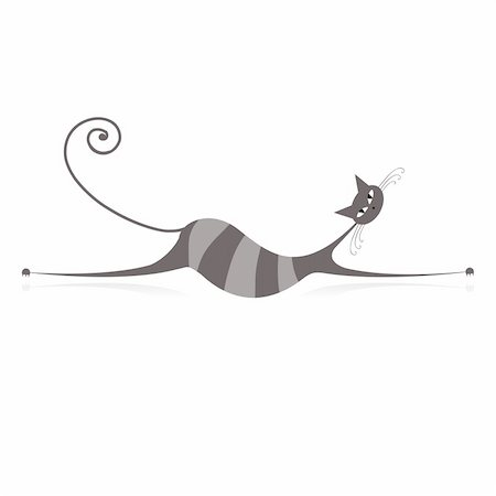 Graceful grey striped cat for your design Stock Photo - Budget Royalty-Free & Subscription, Code: 400-04837230
