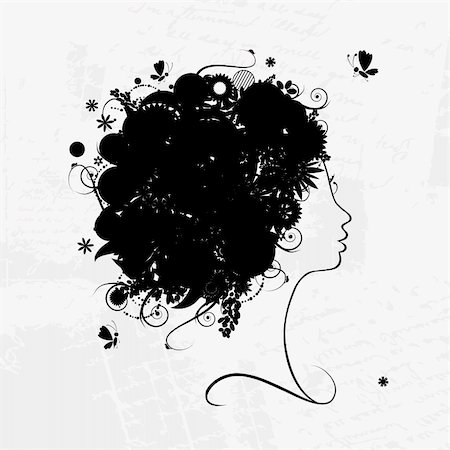 Female profile silhouette, floral hairstyle for your design Stock Photo - Budget Royalty-Free & Subscription, Code: 400-04837287