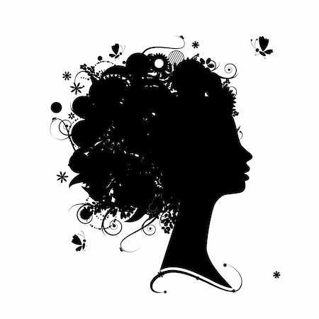 Female profile silhouette, floral hairstyle for your design Stock Photo - Budget Royalty-Free & Subscription, Code: 400-04837289