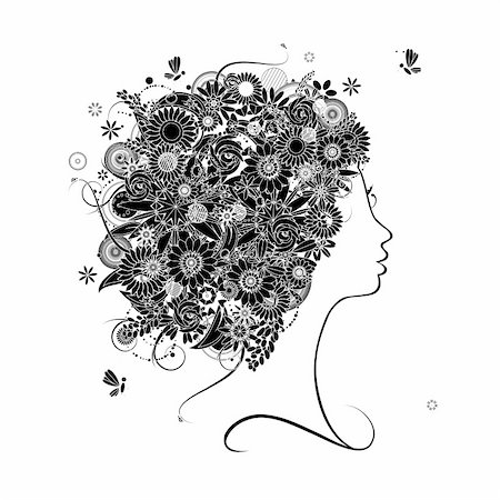 Female profile silhouette, floral hairstyle for your design Stock Photo - Budget Royalty-Free & Subscription, Code: 400-04837283