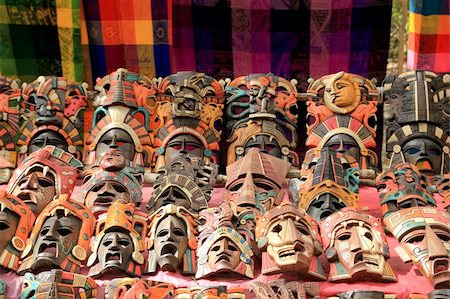 Colorful Mayan mask indian culture in Jungle handcrafts Stock Photo - Budget Royalty-Free & Subscription, Code: 400-04837567
