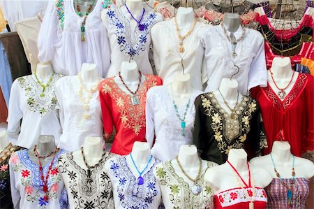 Mayan Mexico dresses embroidery shop in rows traditional clothes Stock Photo - Budget Royalty-Free & Subscription, Code: 400-04837560