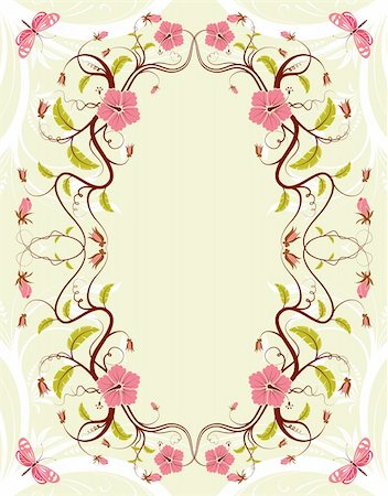 filigree designs in trees and insects - Decorative Floral frame with butterfly, vector illustration Stock Photo - Budget Royalty-Free & Subscription, Code: 400-04837618