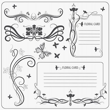 Vector set: calligraphic decoration elements with butterfly Stock Photo - Budget Royalty-Free & Subscription, Code: 400-04838139