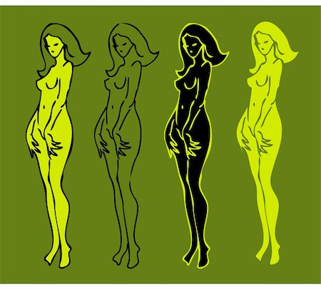 4 emblems variations of beautiful nude woman silhouette Stock Photo - Budget Royalty-Free & Subscription, Code: 400-04838334