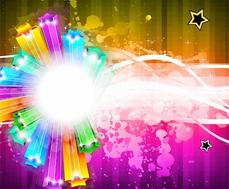 Amazing Rainbow Stars Background for Business Stylish Flyers Stock Photo - Budget Royalty-Free & Subscription, Code: 400-04838810