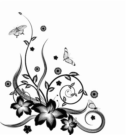 pretty in black clipart - A gorgeous single colour  silhouette corner flower design with butterflies. Stock Photo - Budget Royalty-Free & Subscription, Code: 400-04838877