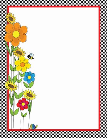 A black and white checkered border featuring a spring garden with a bee and a snail Stock Photo - Budget Royalty-Free & Subscription, Code: 400-04838982