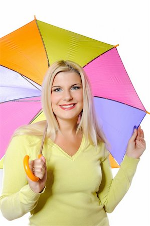 Portrait of pretty autumn woman standing under umbrella. white background Stock Photo - Budget Royalty-Free & Subscription, Code: 400-04839059