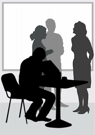 Vector image of people in office of table Stock Photo - Budget Royalty-Free & Subscription, Code: 400-04839092