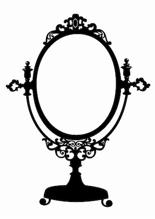 Silhouette of retro oval cosmetic mirror. Vector illustration isolated on white. Stock Photo - Budget Royalty-Free & Subscription, Code: 400-04839718