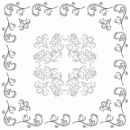 decorative black and white cards - Abstract background, floral vector pattern, monochrome contour Stock Photo - Budget Royalty-Free & Subscription, Code: 400-04839745