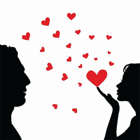 simsearch:400-04863562,k - Man and woman face silhouette with heart. Vector illustration. Stock Photo - Budget Royalty-Free & Subscription, Code: 400-04839979
