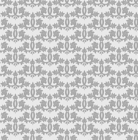 Seamless grey wallpaper pattern. Vector art illustration Stock Photo - Budget Royalty-Free & Subscription, Code: 400-04830007