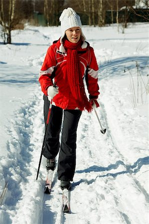 young strong woman is skiing in the forest Stock Photo - Budget Royalty-Free & Subscription, Code: 400-04830127