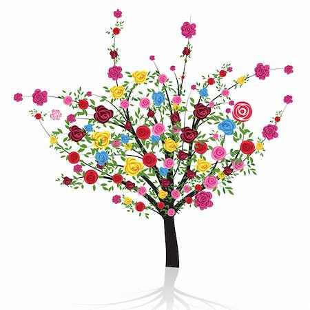 Abstract colorful tree with flower rose. Vector illustration for your design. Stock Photo - Budget Royalty-Free & Subscription, Code: 400-04830479