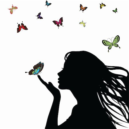 female lips drawing - Woman silhouette girl with colorful butterfly on white background. Illustration Stock Photo - Budget Royalty-Free & Subscription, Code: 400-04830471