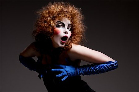 Woman mime with theatrical makeup. Studio shot. Stock Photo - Budget Royalty-Free & Subscription, Code: 400-04830488