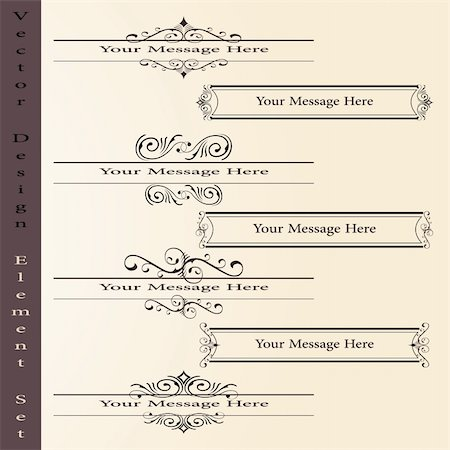 the vector set of design elements in vintage style - vector illustration Stock Photo - Budget Royalty-Free & Subscription, Code: 400-04831640
