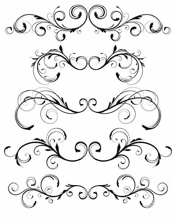 Vector set of floral decorative ornament page rules Stock Photo - Budget Royalty-Free & Subscription, Code: 400-04832454