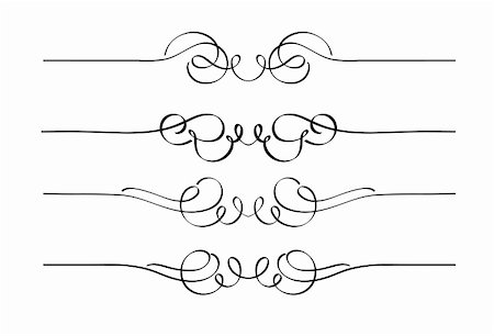 Vector set of decorative swirl ornament page rules Stock Photo - Budget Royalty-Free & Subscription, Code: 400-04832456