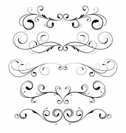 Vector set of floral decorative ornament page rules Stock Photo - Budget Royalty-Free & Subscription, Code: 400-04832459