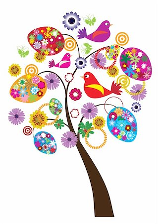vector illustration of easter tree with floral eggs, birds and butterflies Stock Photo - Budget Royalty-Free & Subscription, Code: 400-04833014