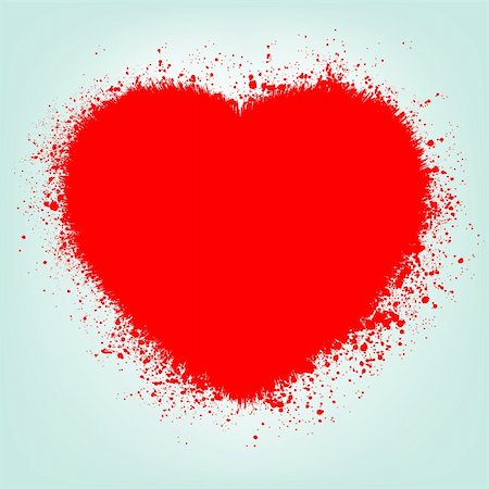 Grunge abstract heart with red splash. EPS 8 vector file included Stock Photo - Budget Royalty-Free & Subscription, Code: 400-04833186