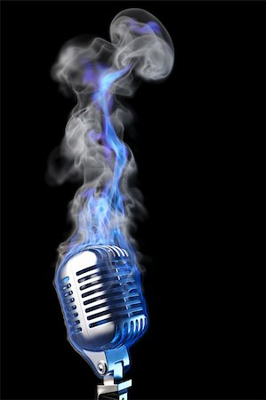old mic in blue flames. isolated on black. Stock Photo - Budget Royalty-Free & Subscription, Code: 400-04833632