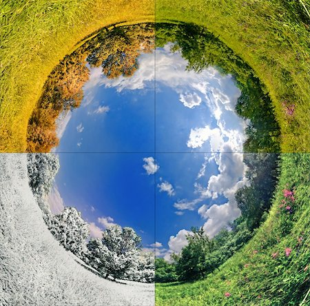 panoramic image looks like planet with seasons change. Ecology and space concept Stock Photo - Budget Royalty-Free & Subscription, Code: 400-04844057