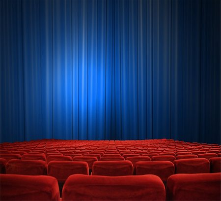 classic cinema with red seats Vorhängen Stock Photo - Budget Royalty-Free & Subscription, Code: 400-04844253