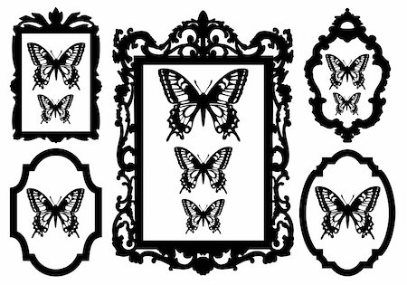 butterflies in antique picture frames, vector illustration Stock Photo - Budget Royalty-Free & Subscription, Code: 400-04845873