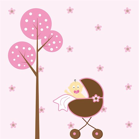 Cute pink baby girl in stroller Stock Photo - Budget Royalty-Free & Subscription, Code: 400-04846019
