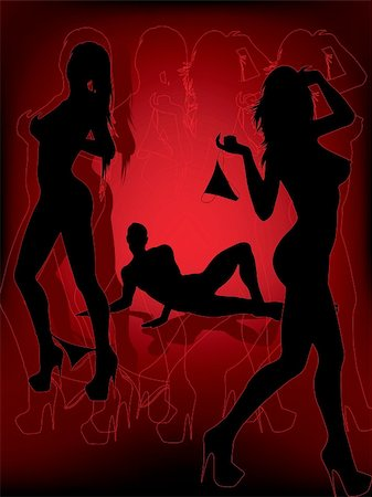 female nude sex - sexy man and women silhouettes with red background Stock Photo - Budget Royalty-Free & Subscription, Code: 400-04846895