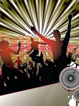 Silhouettes of young people dancing with the dj at the party Stock Photo - Budget Royalty-Free & Subscription, Code: 400-04846896