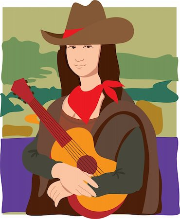 The Mona Lisa dressed as a cowgirl wearing a cowboy hat, a bandana and holding a guitar Stock Photo - Budget Royalty-Free & Subscription, Code: 400-04846956