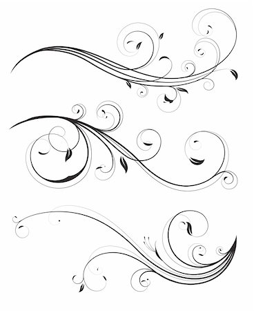 Vector set of swirling flourishes decorative floral elements Stock Photo - Budget Royalty-Free & Subscription, Code: 400-04847052