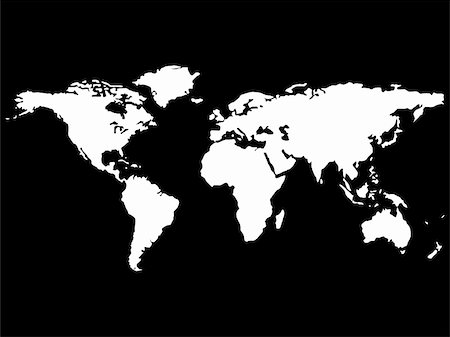 white world map isolated on black background, abstract art illustration Stock Photo - Budget Royalty-Free & Subscription, Code: 400-04847731