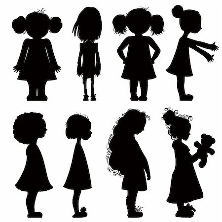 shy baby - Little girls silhouettes set. Stock Photo - Budget Royalty-Free & Subscription, Code: 400-04847852
