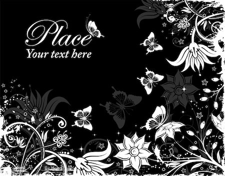 filigree - Grunge floral frame with butterfly, element for design, vector illustration Stock Photo - Budget Royalty-Free & Subscription, Code: 400-04848421