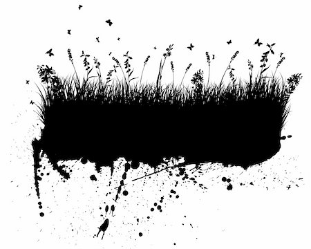 drop painting splash - Vector grunge grass silhouettes background. All objects are separated. Stock Photo - Budget Royalty-Free & Subscription, Code: 400-04848866