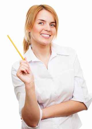 raysay (artist) - Business woman holding a pencil and smiling Stock Photo - Budget Royalty-Free & Subscription, Code: 400-04849526