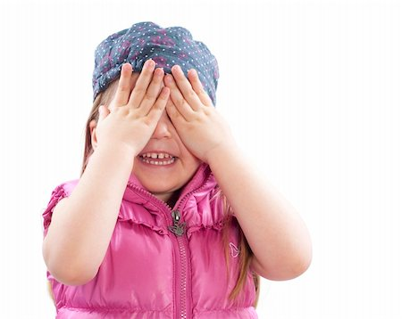 raysay (artist) - little girl covers a face with hands on white Stock Photo - Budget Royalty-Free & Subscription, Code: 400-04849700