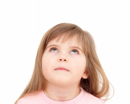 raysay (artist) - little girl looking up on white Stock Photo - Budget Royalty-Free & Subscription, Code: 400-04849725