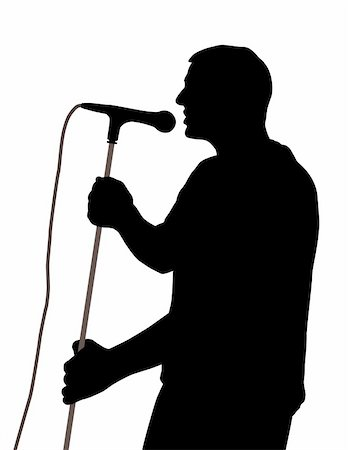 Silhouette of a male singer. Isolated white background. EPS file available. Stock Photo - Budget Royalty-Free & Subscription, Code: 400-04849815
