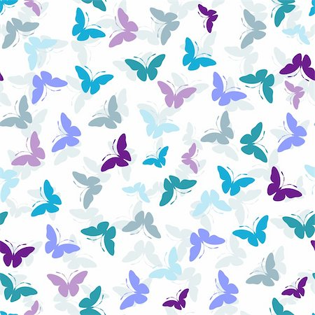 Seamless white pattern with blue and violet butterflies (vector) Stock Photo - Budget Royalty-Free & Subscription, Code: 400-04849865