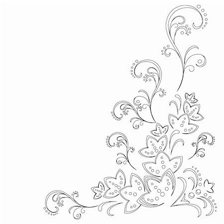 Abstract vector background with a symbolical flower pattern, monochrome graphic contours Stock Photo - Budget Royalty-Free & Subscription, Code: 400-04840497